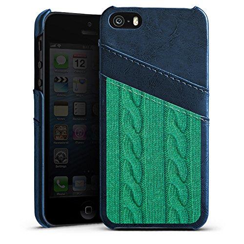 Apple iPhone 5s Housse Étui Protection Coque Look laine Corde Vert Étui en cuir bleu marine