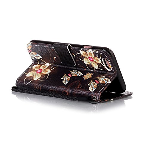 Custodia iPhone 6, iPhone 6S Cover, ikasus® iPhone 6 / iPhone 6S Custodia Cover [PU Leather] [Shock-Absorption] Protettiva Cover Custodia in pelle verniciata ragazza della farfalla Modello con Super S oro del fiore di farfalla