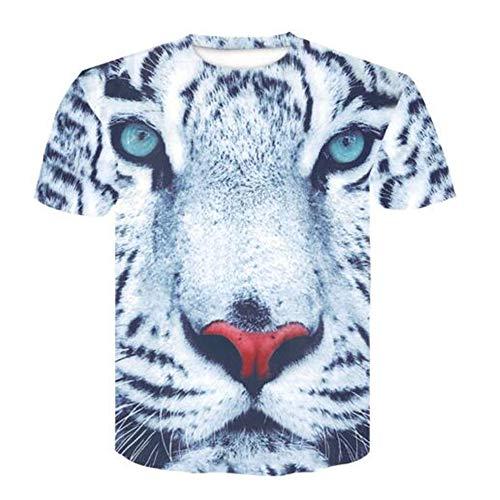 Tops für Männer T-Shirt Männer Bluse Männer 3D Flood Printed Kurzarm Fashion Trend,3D Simulation Tierweiß 4XL -