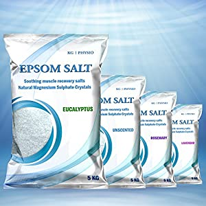 Epsom Salt 5kg by KG | PHYSIO Pure Magnesium used for Muscle Recovery 4 scents available! Unscented, Lavendar, Rosemary and Eucalyptus (Eucalyptus)