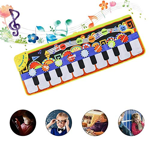 Rziioo Musikalische Klaviermatte Tastatur Spielmatte Tragbare Musikdecke für Kinder Kleinkind Mädchen Jungen