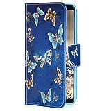 Uposao Cover Compatibile con Samsung Galaxy A80 Carina Cartone Animale Fantasia Modello con Portamonete Carte di Credito a Libro in Pelle PU e Silicone TPU + Cordino da Polso,Farfalla blu oro