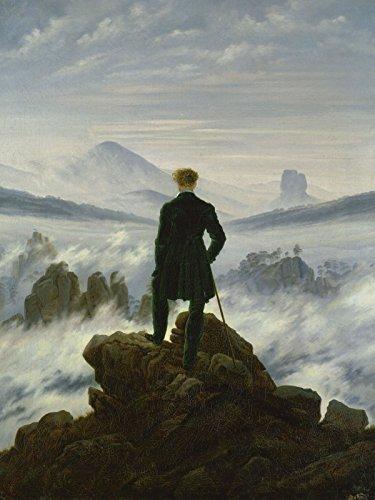 Artland Leinwand auf Keilrahmen oder gerolltes Poster mit Motiv Caspar David Friedrich Der Wanderer über dem Nebelmeer. Um 1818 Menschen Mann Malerei Blau C2YH