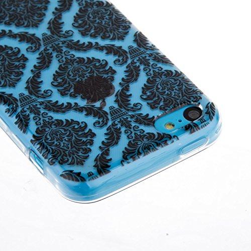 CaseHome iPhone 5C Durchsichtig Silikon TPU Hülle Elegantes Stilvoll Hübsches Muster Druckte Entwurf (Mit freiem HD Schirm-Schutz) Gummi Silikongel Retro Klassiker Stoßstange Weicher Stoßdämpfer-ultra Gittermuster