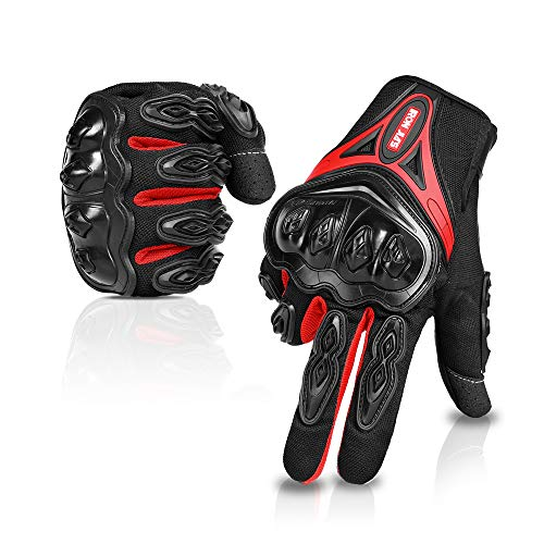 IRON JIA'S Guantes de motos Par Guantes Dedo Completo PU Protección para Moto Bici Motocicleta Motorista puede pantalla táctil