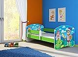Clamaro 'Fantasia Grün' 180 x 80 Kinderbett Set inkl. Matratze und Lattenrost, mit verstellbarem Rausfallschutz und Kantenschutzleisten, Design: 32 Ritter