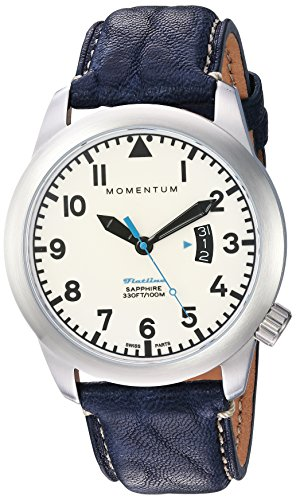Momentum Men's Swiss Quartz Stainless Steel and Leather Casual Watch, Color:Blue (Model: 1M-SP18LS2U)