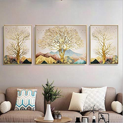 JKYQ Wandkunstdrucke auf Leinwand Abstrakte Naturlandschaft mit Hügeln und Bäumen Malerei auf Leinwand Wandbilder Bilder für das Home Hotel Büro Studieren Dekoration vor gerahmten 3-Tafeln -