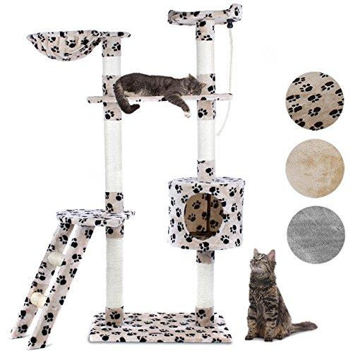 Happypet® CAT016-2 Kratzbaum Katzenbaum mittelhoch 1,52 hoch Beigepfote