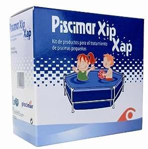 XIP XAP- kit per il trattamento dell'acqua di minipiscine . Contiene XIP 0,5 L di antialghe e XAP 0,5 kg di Dicloro 56