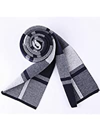 XIAOLIN-- Scarf Men Fashion Plaid Pattern Gift Box Packaging 4 Colors --Outdoor warm scarf ( Color : A )