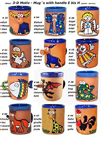 3-D Motiv - Tassen mit Henkel (E bis H) -