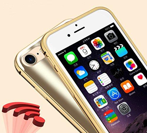 Kepuch Dazzle Apple iphone 7 Étui - Aluminium Métal Bumper & Placage Arrière Housse Pour Apple iphone 7 - Noir Champagne