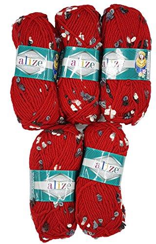 Alize Maxi Flower 5 x 100 Gramm Wolle mit Farbtupfer, 500 Gramm Effektwolle (rot) -