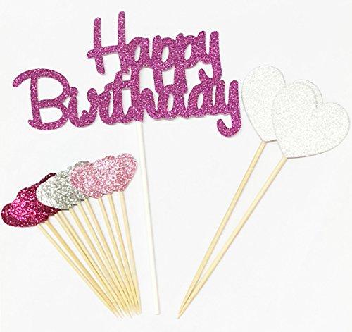 Lming Handmade 13 Counts Happy Birthday Glitter Kuchen Dekorieren Toppers FÜR Kuchen Cupcake Und Icecream - Alles Gute Zum Geburtstag Rosa Set