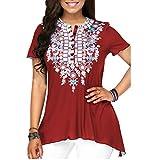 JUTOO Frauen O-Ausschnitt Printing Plus Size Kurzarm Bluse Top(rot,EU:44/CN:XL)