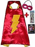 Flash Girl cou et masque + autocollant. Flash Girl Cape and Mask–Super Héros Cape et masque Super Héros de Costumes pour les enfants–Jouets pour carnaval ou la devise de fêtes.–King Mungo–kmsc044