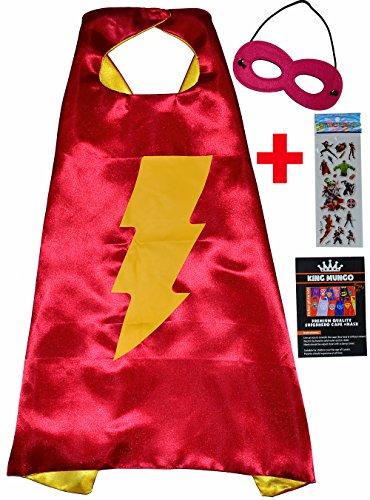 Flash Girl Umhänge und Maske + Aufkleber! FlashGirl Cape and Mask - Superhelden Cape und Maske Superhelden-Kostüme für Kinder - Spielsachen für Fasching oder Motto-Partys! - King Mungo - KMSC044