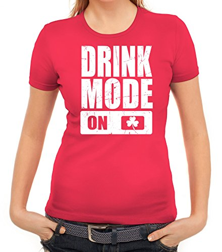 ShirtStreet Irland St. Patrick's Day Partner Gruppen Damen T-Shirt Drink  Mode On Pink