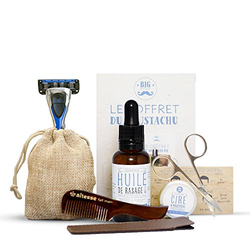 Coffret entretien moustache : huile de rasage + cire à moustache + peigne moustache + ciseaux + rasoir 5 lames + livret avec de nombreux conseils