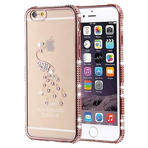 Phone Case Coque cover, Pour iPhone 6 / 6s, boîtier de protection TPU de cadre à galvanoplastie encadré diamant ( SKU : IP6G1861D )