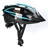 Fahrradhelm, Erwachsener Fahrrad-Sturzhelm-Fahrrad-Sturzhelm-Reithelm Road, Mountainbike Helm, Blau, Grün Farbe, L (58-62 cm), mit LED lampen ,Y-20 (blau und weiss)
