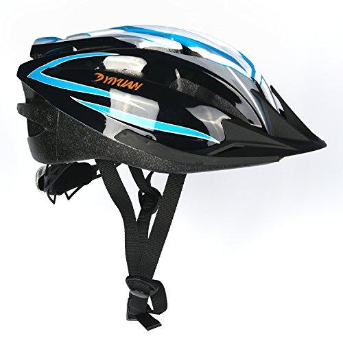Yiyuan Fahrradhelm, Erwachsener Fahrrad-Sturzhelm-Fahrrad-Sturzhelm-Reithelm Road, Mountainbike Helm, Lila, Blau, Rot Farbe, M (54-58cm), mit LED lampen ,Y-20 (Blau und...