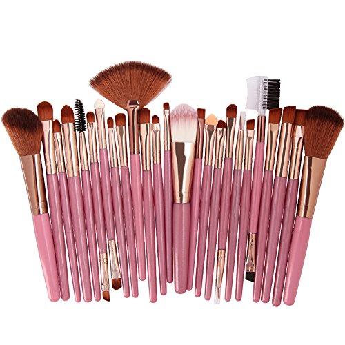 Cdet. 25Pcs Kit De Pinceau Maquillage avec Manche en Plastique Cosmétiques Brush à Double tête Ensemble Fondation Mélange Blush Yeux Visage Poudre Sourcil Brosse Make Up Rose