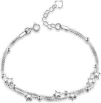 Regalo di San Valentino Braccialetto 925 da donna argento Sterling con catenina a maglia quadrata e con perline e stelline