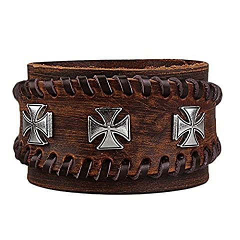Cuff Frauen Frauen handgemachtes Breite Armreif aus echtem Leder JALL Handcrafted Schmuck (Braun)