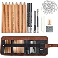 Sketching Pencil Set, 29 Pieces Professional Sketching & Drawing Art Tool Kit with Sketch Draw Pencils Charcoal Eraser Paper Pens Sharpener Pencil Extender & Canvas Pouch for Beginners and Artists