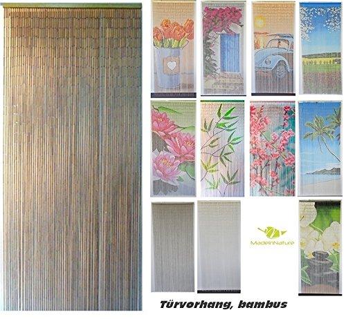 Bambusvorhang Türvorhang, Insektenschutzvorhang, 90cm x 200cm mit Aufhängeleiste, Innen und außen, mehrere Modelle, von MadeInNature® (Modèle 3 Classique Naturel)