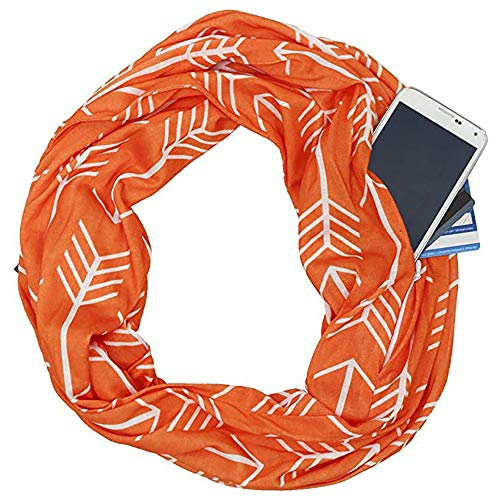 HSRG Storage Fashion Womens Infinity Zipper Pocket Schal Wrap Schal, Infinity Schals, Travel Schal,Orange Womens Fashion-infinity-schal