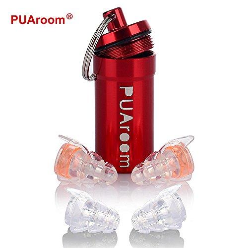 PUAroom Protección Auditiva Tapones para los oídos,2 pares de auriculares de silicona reutilizables con soporte de aluminio, ideal para músicos, concierto, festival, club, batería, DJ ( Naranja)