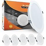 Lot de 6 LED Spots Encastrables Extra Plat IP44 20W 1800lm Spots de Plafond Blanc Chaud 3000K Lampe Plafonnier pour Salle de