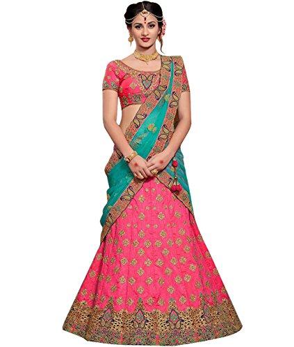 Indian Ethnicwear Bollywood Pakistani Wedding Pink Coloured Lehenga Un-stitched