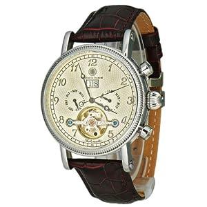 Constantin Durmont San Juan - Reloj analógico de caballero automático con correa de piel marrón - sumergible a 30 metros de Constantin Durmont