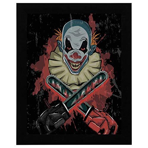 SHAOKAO Gym Wandkunst böse beängstigend Clown Monster Wandkunst abstrakte 17 x 13 Zoll gerahmte Print Kunstdruck Vintage Wörterbuch Buch Zeitung Seite Kunstdruck Wandkunst Baby (Monster Beängstigend)