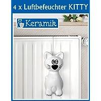 4er SET WENKO Luftbefeuchter Kitty - Keramik-Verdunster - 24 x 10,5 x 6,5 cm - weiss-schwarz - Wasserverdunster für Heizung - Raumbefeuchter - Heizung