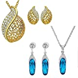 #9: Om Jewells Crystal Jewellery Combo of Azure Blue and Dew Drop Pendant Set/Jewellery sets for Women and Girls CO1000026