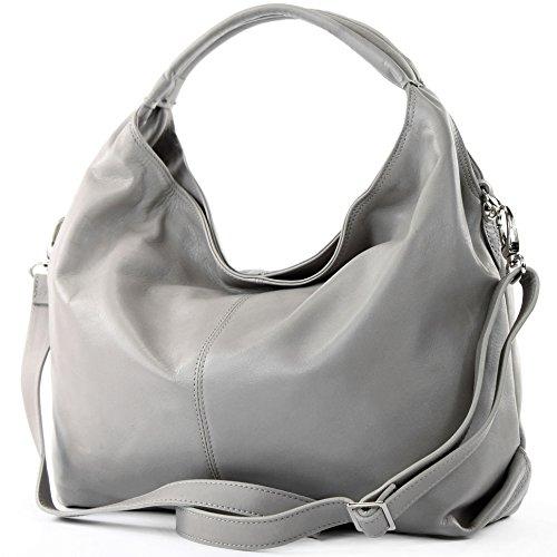 b5a5cb8e76e92 modamoda de ital Ledertasche Damenhandtasche Schultertasche Damentasche  Nappaleder DS26 Steingrau
