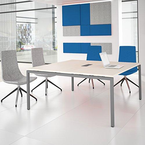 NOVA Konferenztisch 160x164cm Ahorn mit ELEKTRIFIZIERUNG Besprechungstisch Tisch, Gestellfarbe:Silber