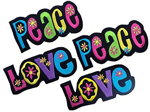 (i-Patch - Patches - 0061 - Applikationen mit Stickerei LOVE und PEACE zum Aufbügeln oder Aufnähen - diese Aufbügler oder Aufnäher erinnern an die Hippie und Flower Power Zeit in der sich vieles um Frieden und Liebe drehte.)