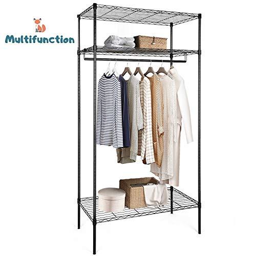 amzdeal Kleiderständer Metall Kleiderschrank Multifunktionale Kleiderstange mit 3 Ablagen, Kleiderregal für die Aufbewahrung(schwarz)