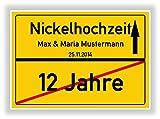 Geschenkidee zur Nickelhochzeit - 12 Jahre verheiratet - Nickel Hochzeit - Ortsschild Bild Geschenk zum Hochzeitstag - Jubiläum mit Namen und Datum