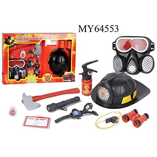 9 Stücke Feuerwehrmann Rollenspiel Spielzeug Feuerlöscher Gasmaske Feuerwehr Abzeichen für Kinder (Für Feuerwehr-maske Kinder)
