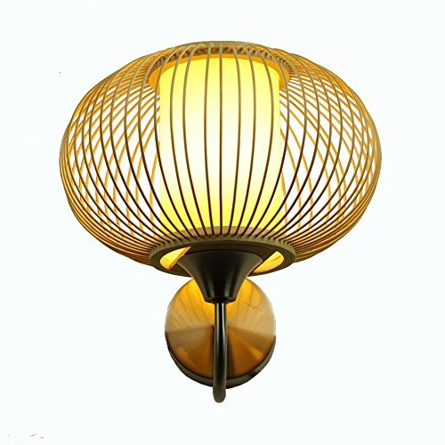 Bambus Wandleuchte, Schlafzimmer Nachttischlampe Hotel Zimmer Beleuchtung Treppe Gang Leuchten Wand Lampe Home Wohnzimmer E 27, 25 * 15 * 22 cm Wählen Sie (Größe: 25 * 15 * 22 CM) (Home-source-bambus)