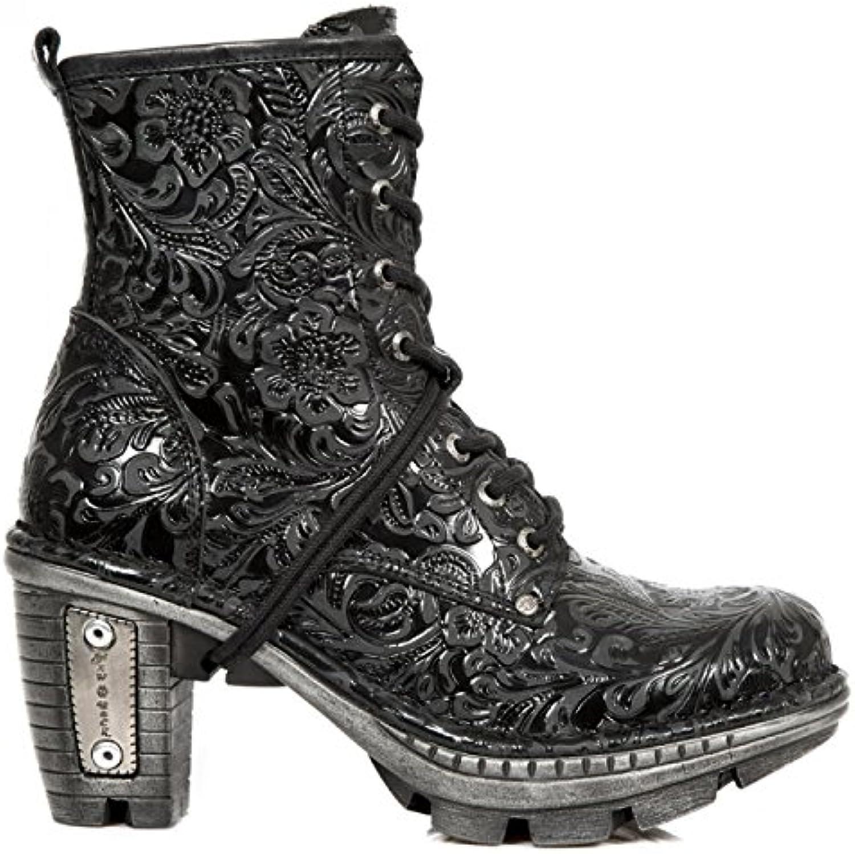 New Rock Boots M.NEOTR008-S2 Gothic Hardrock Punk Damen Stiefelette Schwarz