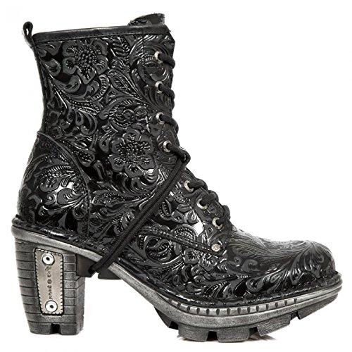 New Rock Boots M.NEOTR008-S2 Gothic Hardrock Punk Damen Stiefelette Schwarz, EU 43