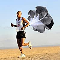 56 Inch Speed Resistance Training Parachute Running Chute Football Exercise Black by Soccer Agility